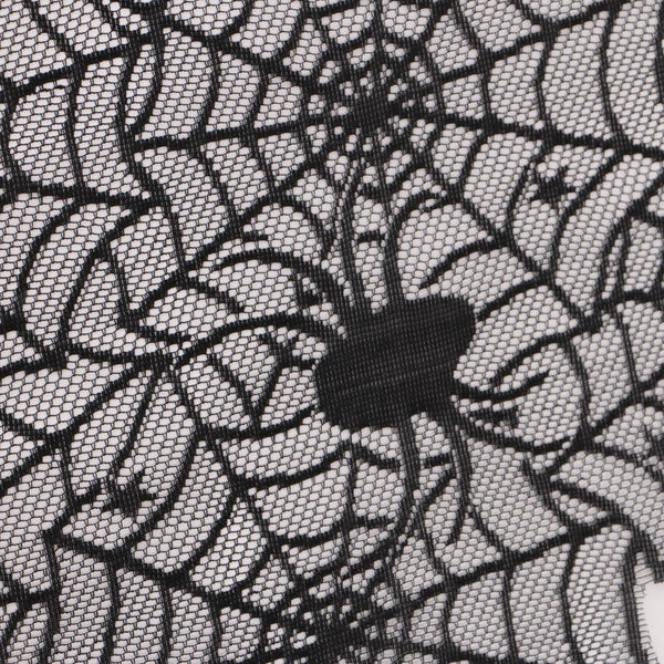 Halloween Gothic Table Runner Curtain Black Lace Cobweb Bat Party Cover Prop