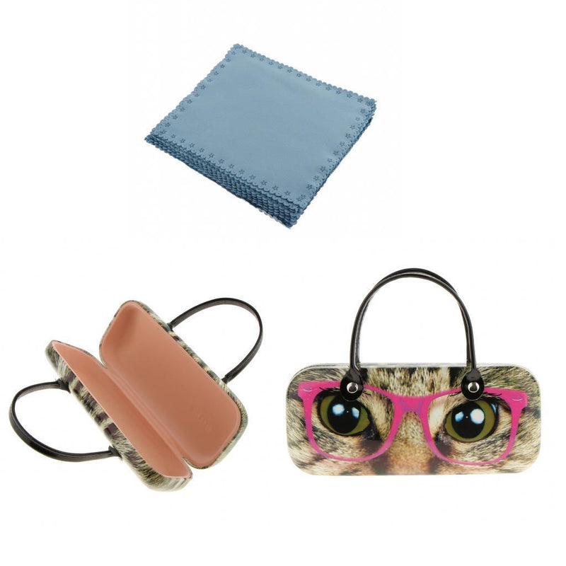 Hard Case Holder Pouch + 20 Velvet Cleaning Cloth for Glasses Spectacle Set