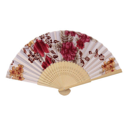 Fabric Chinese Style Floral Pattern Folding Party White Fan W3K6