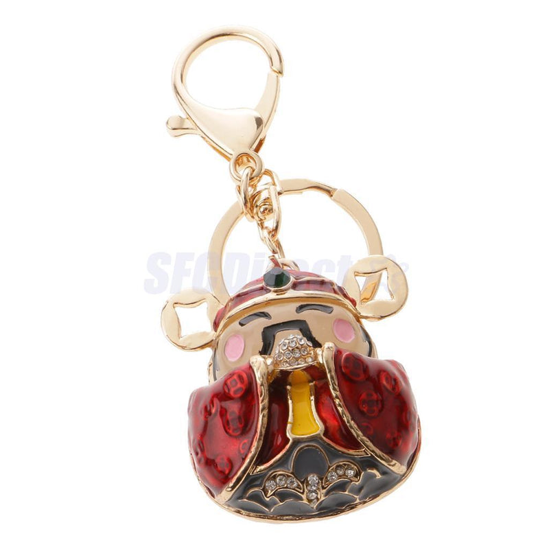 Chinese God of Wealth Fortune Keychain Keyring Charm Pendant New Year Gift