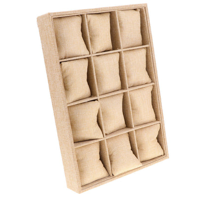12-Slot Jute Lining Jewelry Box Necklace Display Stand with Pillows Beige