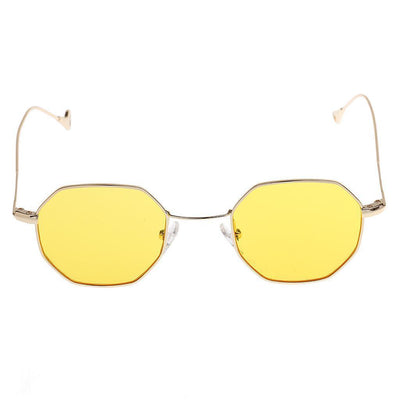 2pc Womens Mens Octagon Sunglasses Metal Frame Retro Mirror Lens Eyewear