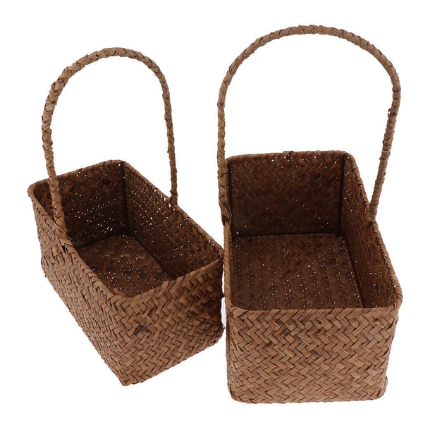 2x Rattan Woven Storage Basket Sundries Food Container Organizer Rectangle