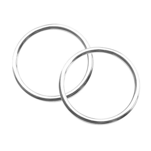 "2pcs 0.16 x 2"" Polished Smooth Welded 316 Stainless Steel O-ring Round Ring"