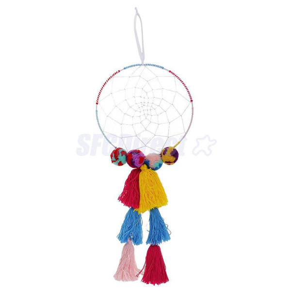 1Pcs Cotton Tassel Dream Catcher with Colorful Hairy Ball Wall Hanging Decor