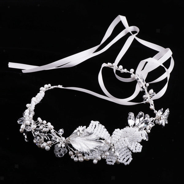 Fashion Pearls Rhinestone Floral Hairband Crown Tiara Woman Bridal Headdress