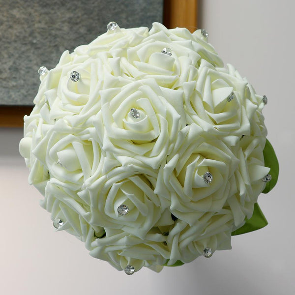 Milk White Foam Roses Flowers Wedding Bride Bridesmaid Bouquet Accessories