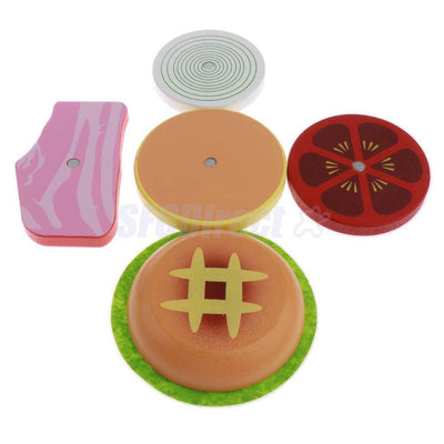 Kids Wooden Play Kitchen Food Set Accessories -Hamburger French Fries & More