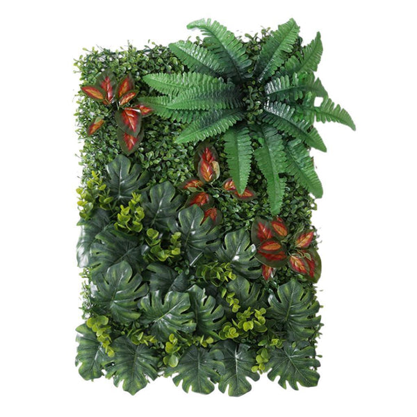 Artificial Plastic Foliage Plant Wall Panel for Shop Window Decor Red leaves