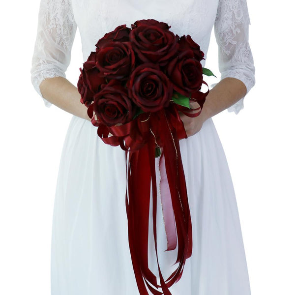 Luxury Rose Bridal Bouquet Silk Flower Wedding Party Photo Prop Wine Red