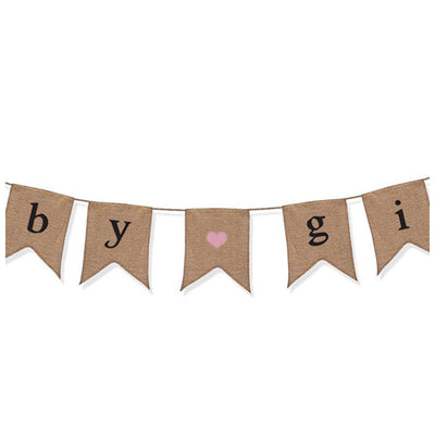 """Baby Girl"" Burlap Banner - Baby Shower Decorations For Girl - Gender Revea S2H5"