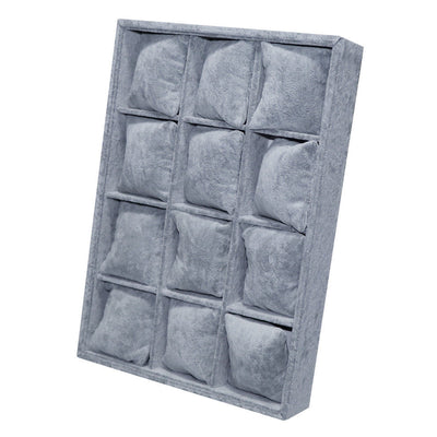 Grey Watch Bacelet Jewelry Display Storage Box Case with 12 Pillows Unisex