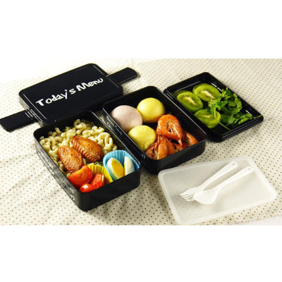One-shoulder Lunch Bag+Separate Containers Food Saver Double Layer Lunch Box