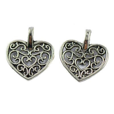 150 Pieces MADE WITH LOVE Filigree Heart Rectangle Charms Pendant DIY Crafts