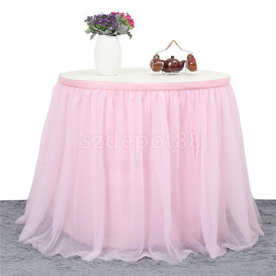 Tulle Tutu Table Skirt Tableware Wedding Party Baby Shower Decor 9ft Pink