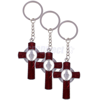 3 Pieces Alloy Catholic Cross Keyrings Virgin Mary Keychain Religious Gift