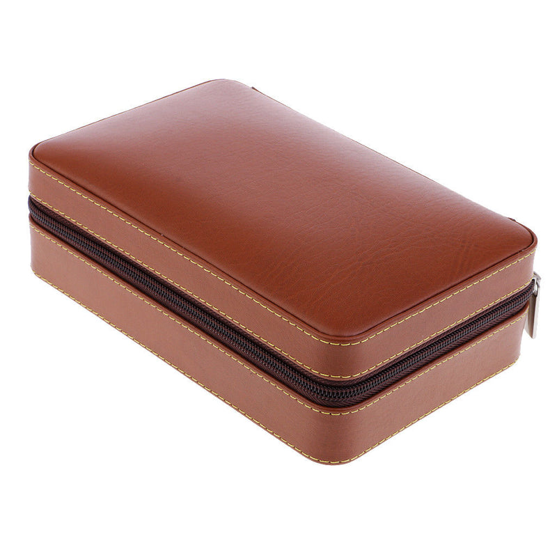 Leather Cedar Wood Lined Portable Cigar Business Travel Case Humidor -4 Tube