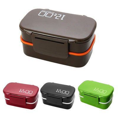 2 pcs Large Capacity 2 Layers Thermal Insulated Lunch Box Container Claret