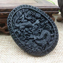 Natural Black Green Jade Hand Carved  Jade Pendant Dragon Lucky Amulet Gift