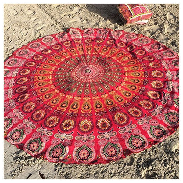 The United States Wind Blended Beach Towel Round Shawl,Red J5Q8