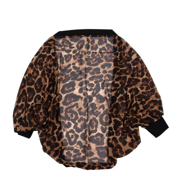 spring and autumn cardigan sweater women sexy leopard long-sleeved shirt sw X8H8