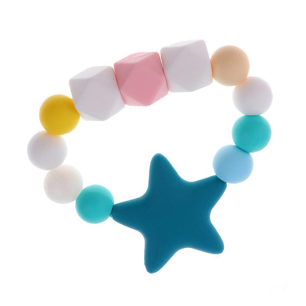 1x Silicone Chewable Teether Teething Bracelet Baby Nursing Chew Beads Blue