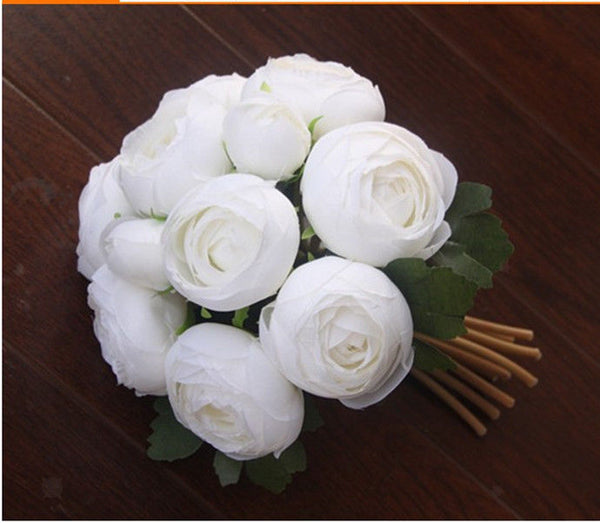 Artificial Wedding Silk Camellia Flower Girl Bridal Bouquet Decoration White