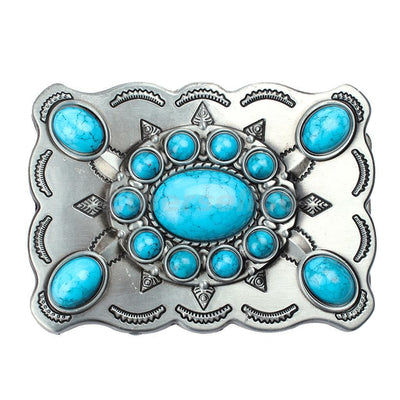 Mens Western Classic Belt Buckle Classic Boho Synthetic Turquoise Buckles