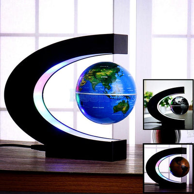 LED Magnetic Levitation Globe Floating World Map Desktop Decor US Plug Blue