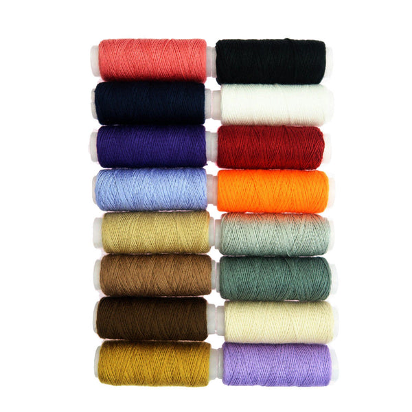 16 Colors Polyester Sewing Threads for Jeans Bags Upholstery Leather Crafts