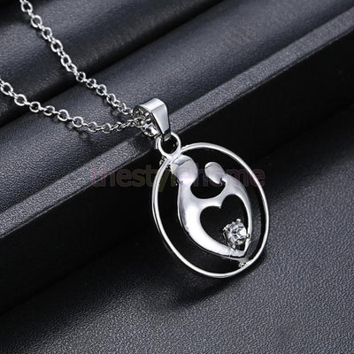 """Mother & Child"" Love Cute Pendant Chain Necklace Gift Mother/son/Daughter"