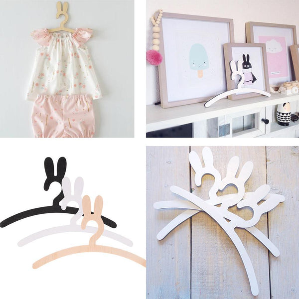 3pcs Rabbits Baby Kids Wood Bunny Clothes Hanger Home Room Decor