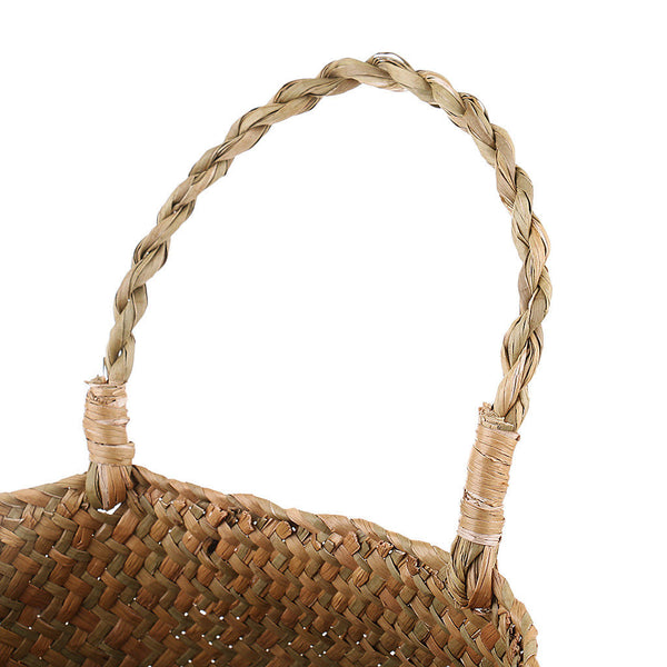 2pcs Natural Seagrass Belly Basket Plant Holder Woven Basket Storage Tote M