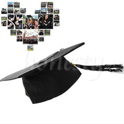 Black Mortar Board Adults Graduation Hat Cap Dress Accessory Student Graduate