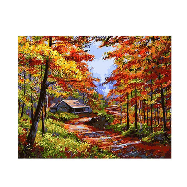 Unframed Oil Painting Paint By Numbers On Canvas for Adults Autumn Scenery