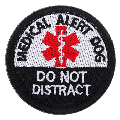 """Medical Allert Dog"" Embroidered Hook Patch Badge for Clothing Applique DIY"