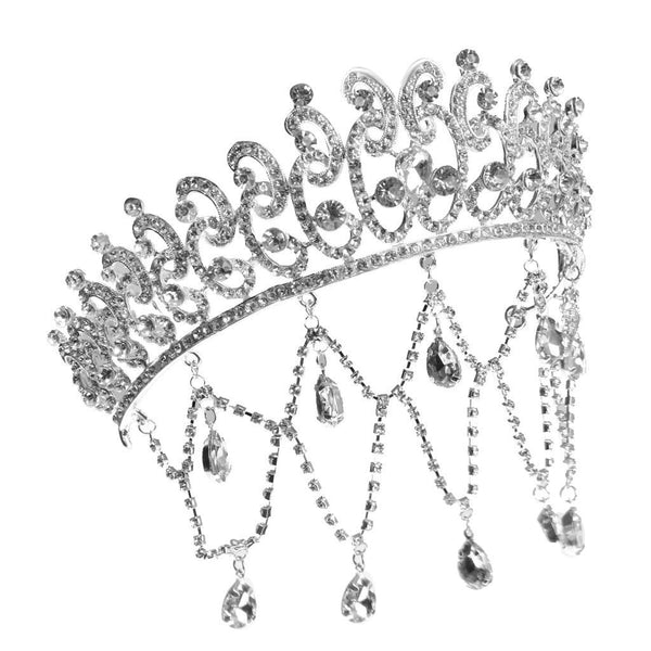 Fashion Bridal Tiara Crystal Hairpin Sliver Tassel Princess Crown Hair Hoop