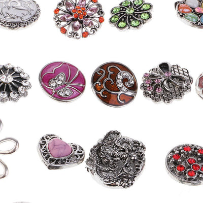10 Designs Crystal 18mm Snap Button Partnerbeads Charm Bracelet Snap Jewelry