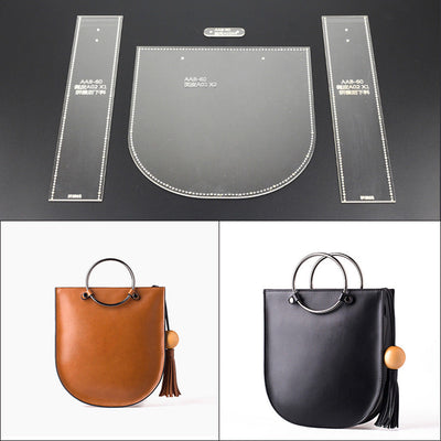 4 Pcs/Set Clear Leather Pattern Acrylic Templates for Shoulder Bags Handmade