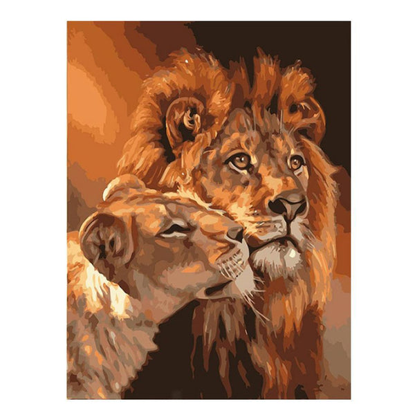 "3x 20"" x 16"" DIY Paint By Numbers Kit Digital Oil Painting Canvas Lions Canvas"