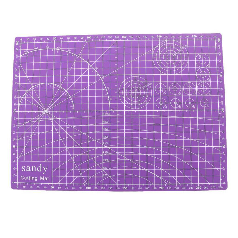 A4 Size Double Sided Cutting Mat PVC Cutting Board for Quilting Craft Purple