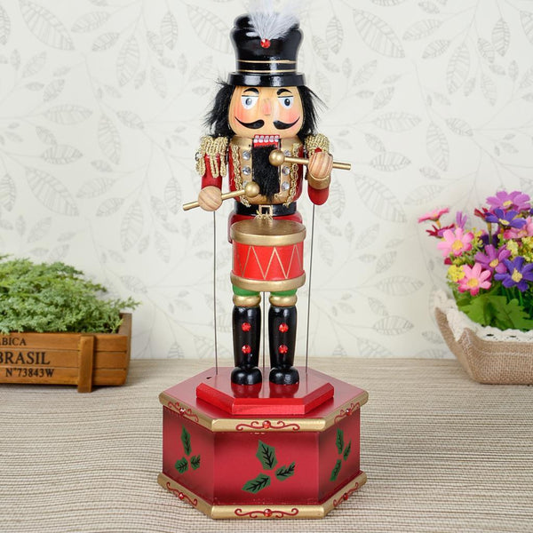 Classic Hand Painted Wooden Nutcracker Music Box Christmas Decor Ornaments