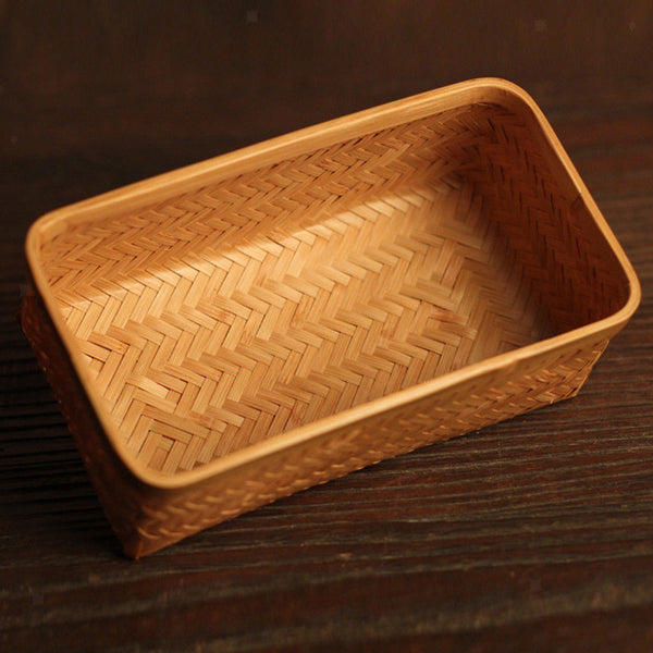 Retangular Woven Storage Basket Box - Natural Bamboo Toys Tea Storage w/ Lid