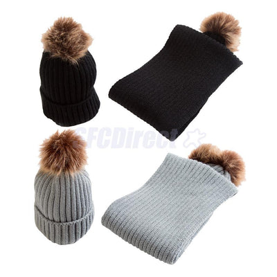 2Pair Winter Warm Toddler Girl Boy Crochet Knit Pompom Hat Cap Beanie Scarf