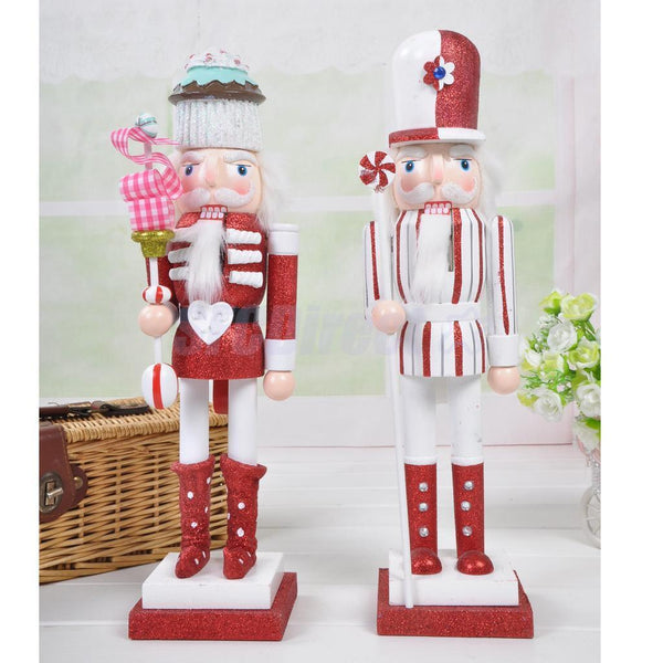 38cm Wooden Nutcracker Man in Cake Hat Walnut Toys Gifts Home Statue Display