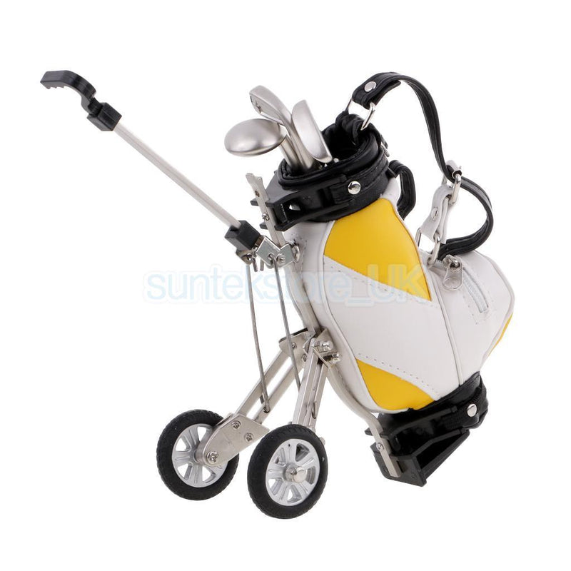 Novelty Golf Cart Bag with 3 Club Pens Golfer Gift Office Desk Decoration