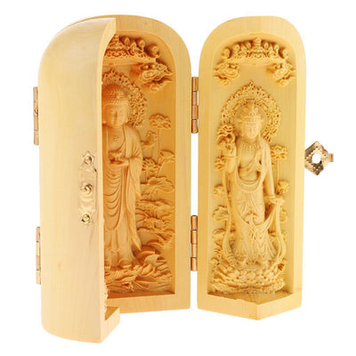 Tibetan Buddhism Boxwood Kwan-yin GuanYin Lotus Flower Holy 3 God Statue Box
