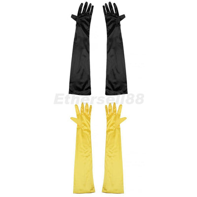 2x Long Opera Gothic Satin Gloves Womens Fancy Dress Elbow Evening 1920s 20s