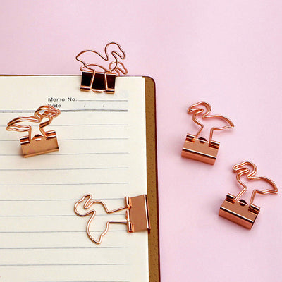 Paper Clips Flamingo Metal Chip Organizer Binder Clip Office Supplies 20 Pcs