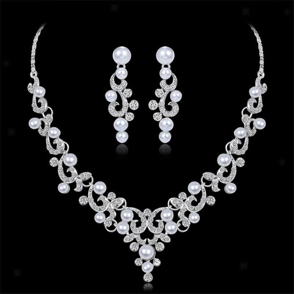 Wedding Crystal Filigree Necklace Earrings Set Bridal Jewelry Accessories